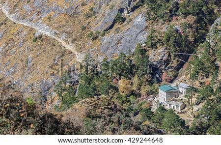 Small village on the path from Tengbocht monastery to the Phortse village - Everest region, Nepal, Himalayas - stock photo