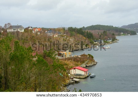 Small village on the shore of Fjord, Norway