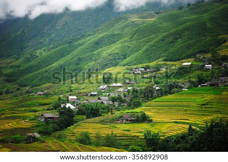 Small village with Rice terraces in Vietnam - stock photo