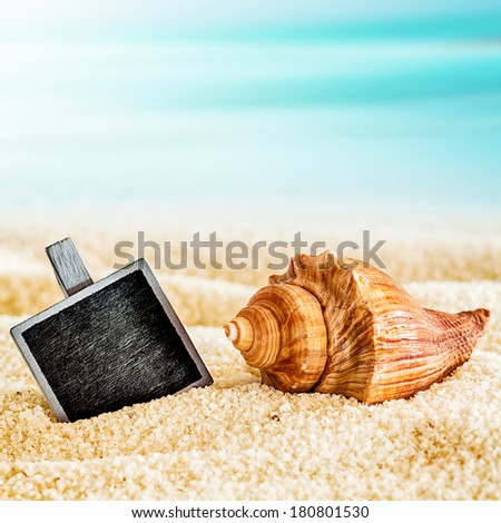 Small vintage blank black slate half buried in sand with a seashell on a sunny summer tropical beach,closeup in square format - stock photo