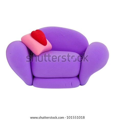 Small violet armchair, made from child's play plasticine - stock photo