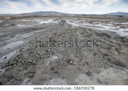 small volcano of mud (Macalube), aragona, sicily, italy - stock photo