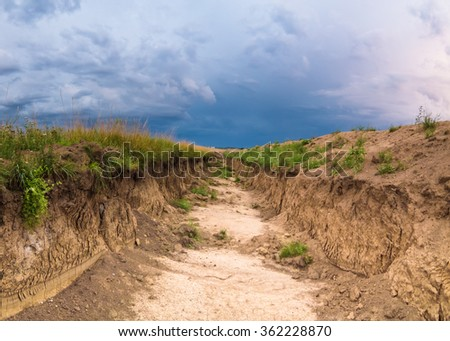 Small wasteland gorge - stock photo