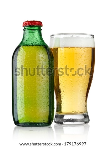 Small water bottle with drops and a beer glass
