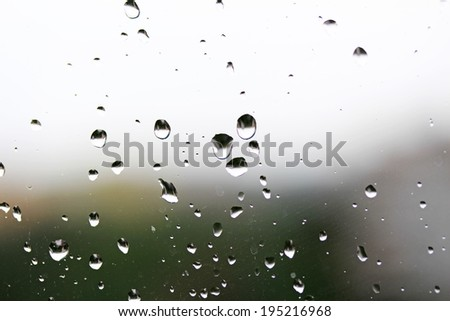 Small water drops on the glass - stock photo