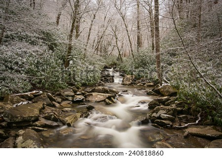 Small waterfall along with Chimney top trail at Smoky mountain, Tennessee, USA in winter time. - stock photo