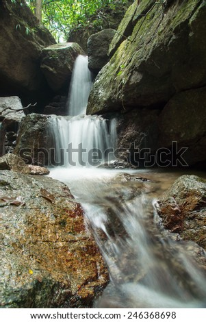Small waterfall in the forest, Thailand. - stock photo
