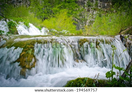 Small waterfall in the mediterranean forest
