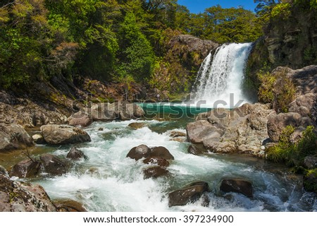 Small Waterfall in the Tongariro Crossing National Park, New Zealand - stock photo