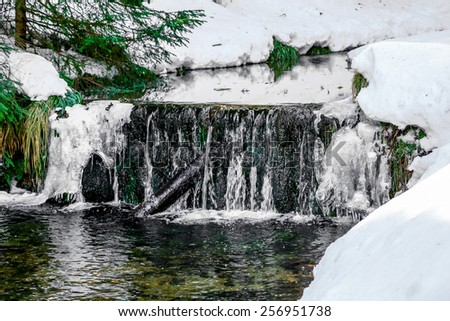 small waterfall in vosges mountain - stock photo