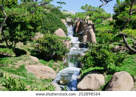 small waterfalls - stock photo