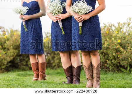 Small wedding ceremony in white and blue theme. - stock photo