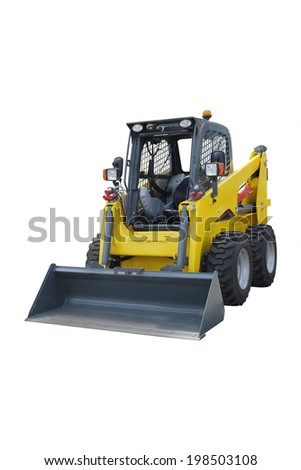 small wheeled tractor under the white background - stock photo