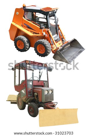 small wheeled tractors under the white background