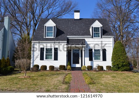 Small White American Home - stock photo