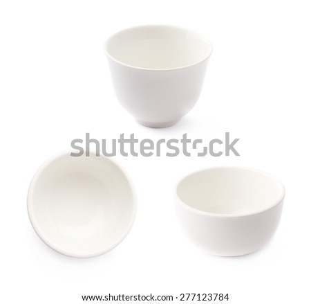 Small white ceramic bowl isolated over the white background, set of three different foreshortenings - stock photo