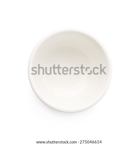 Small white ceramic bowl isolated over the white background, top view above foreshortening - stock photo