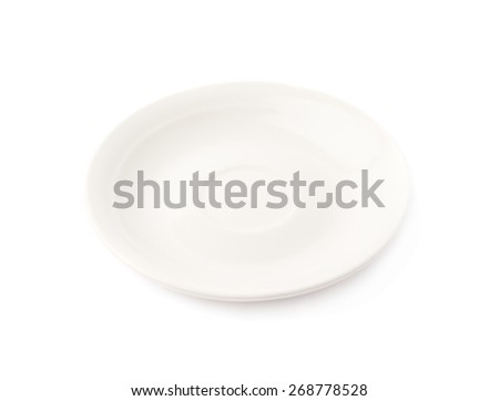 Small white glazed ceramic plate isolated over the white background - stock photo