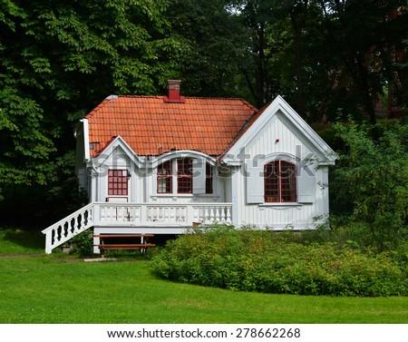 Small white house - stock photo