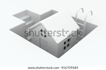 Small white house pit deep, 3d illustration, horizontal - stock photo