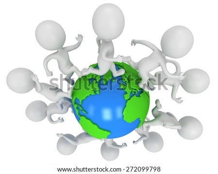 Small white people running around the world. Travel and international concept. 3D render isolated on white background.