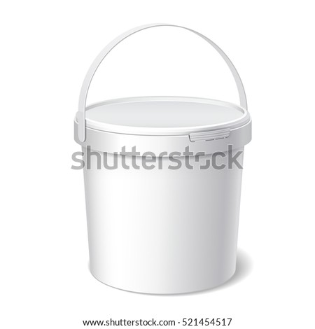 Small White plastic bucket with White lid. Product Packaging For food, foodstuff or paints, adhesives, sealants, primers, putty.  illustration