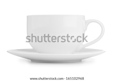 Small white tea cup isolated on white - stock photo