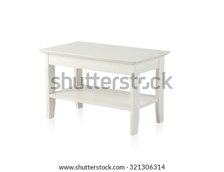 Small white wooden table isolated on white background - stock photo