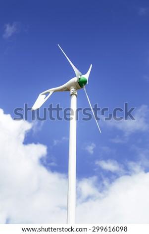 Small wind turbine, renewable energy source of future. - stock photo