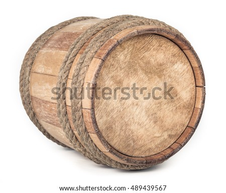 Small Wooden barrel isolated on white