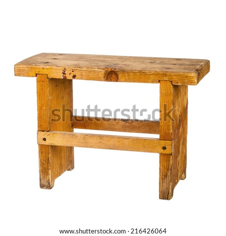 Small wooden bench isolated on white - stock photo