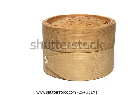 small wooden box isolated on white background - stock photo