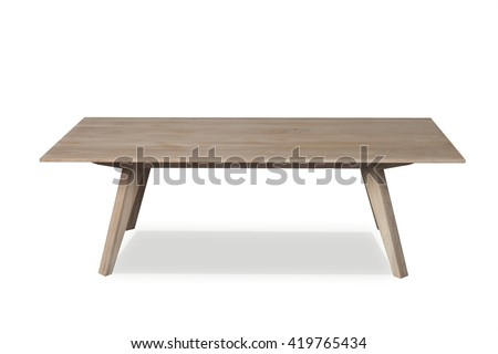 Small wooden coffe table isolated on a white background front view - stock photo