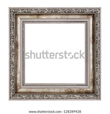 small wooden frame with thick border isolated on white background - stock photo
