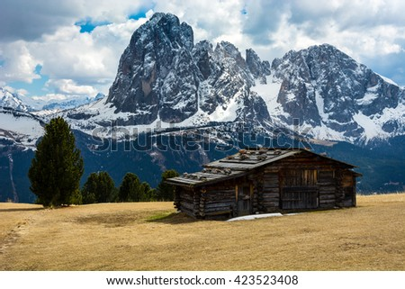 Small wooden hut located in the Dolomites area of the Alps, near Bolzano, Italy.