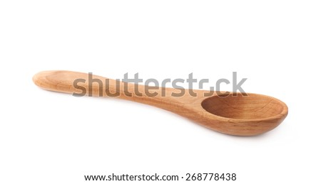 Small wooden measuring spoon isolated over the white background - stock photo
