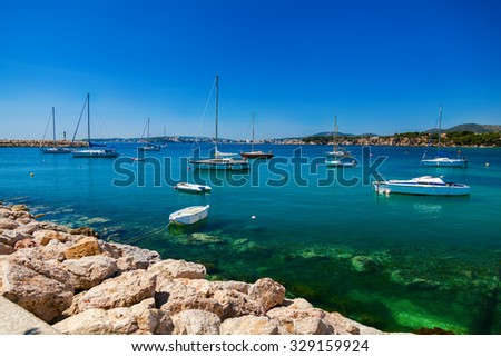 small yachts and boats in the bay, Mallorca, Spain - stock photo