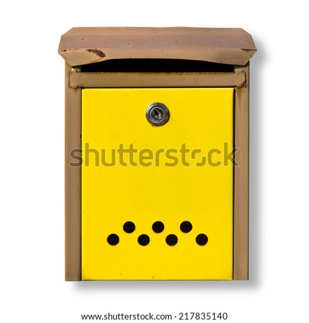 Small Yellow Post Box Isolated on White Background with Small Rusty and Damage Details - stock photo