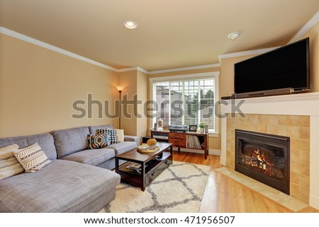 Small yet cozy family room with corner fireplace and grey sofa. Northwest, USA