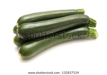 Small zucchini isolated on a white background - stock photo