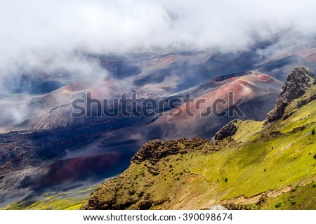 Smaller volcanic cones stand in the crater of Haleakala volcano on the island of Maui, Hawaii. - stock photo