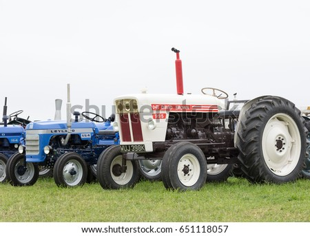 SMALLWOOD, CHESHIRE -  MAY 29th 2017: Line of vintage tractors at smallwood Vintage Rally, UK MAY 29th, 2017