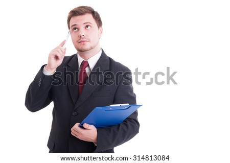 Smart accountant holding clipboard and wondering isolated on white - stock photo
