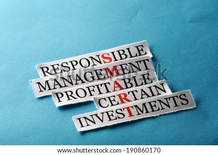 Smart  acronym in business concept, words on cut paper hard light - stock photo