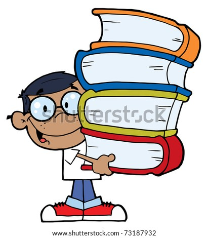 Smart African American School Boy Carrying A Stack Of Books - stock photo