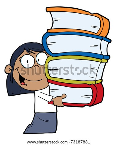 Smart African American School Girl Carrying A Stack Of Books
