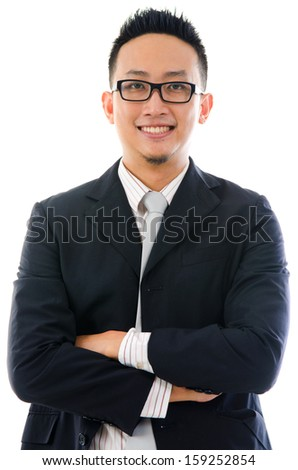 Smart asian business man isolated on white background