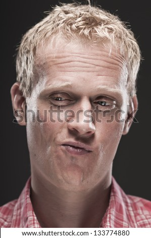 Smart Ass Caucasian Man Smirking - stock photo