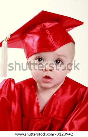 Smart baby graduating from daycare - stock photo