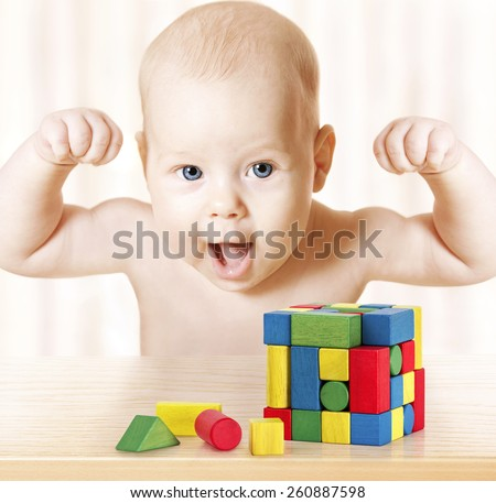 smart baby playing toy blocks strong healthy child laughing hand raise up little - Images Of Little Kids